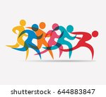 running people set of symbols ... | Shutterstock .eps vector #644883847