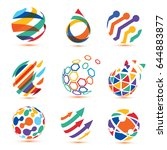 abstract globe and puzzle... | Shutterstock .eps vector #644883877