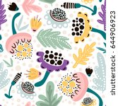 seamless hand drawn floral...   Shutterstock .eps vector #644906923