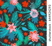 seamless pattern with floral... | Shutterstock .eps vector #644924293