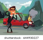 car accident. angry crying... | Shutterstock .eps vector #644930227