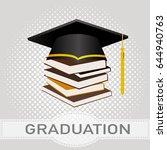 black silhouette graduation cap ... | Shutterstock .eps vector #644940763