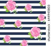 rose flower and stripe... | Shutterstock .eps vector #644945803