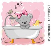 cute cartoon teddy bear in the...   Shutterstock .eps vector #644945977