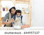 mother and child daughter girl... | Shutterstock . vector #644957137