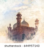 badshahi mosque watercolor... | Shutterstock . vector #644957143