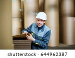 paper mill factory worker   Shutterstock . vector #644962387