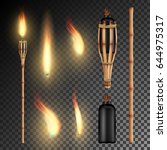 Burning Beach Bamboo Torch Wit...