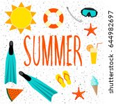 summer time card. handmade... | Shutterstock .eps vector #644982697
