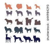 Stock vector dog silhouettes isolated on white background different dog breed silhouettes collection 644984293