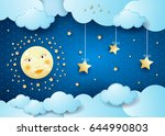 surreal night with full moon... | Shutterstock .eps vector #644990803