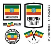 ethiopia quality isolated label ... | Shutterstock .eps vector #645002893