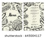 food and drink menu design with ... | Shutterstock .eps vector #645004117