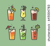 vector set of cocktails of flat ... | Shutterstock .eps vector #645004783