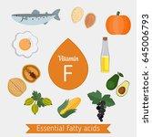 vitamin f or essential fatty...   Shutterstock .eps vector #645006793