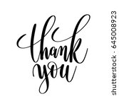 thank you black and white hand... | Shutterstock .eps vector #645008923