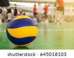 yellow blue volleyball on the... | Shutterstock . vector #645018103