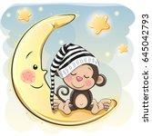 cute cartoon monkey is sleeping ... | Shutterstock .eps vector #645042793