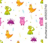 bright pattern with cute... | Shutterstock .eps vector #645053743
