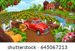 background with car in farm... | Shutterstock .eps vector #645067213