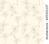 seamless tropical palms pattern.... | Shutterstock .eps vector #645101137