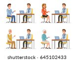 doctor with different patients. ... | Shutterstock .eps vector #645102433