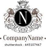 royal brand lions logo template.... | Shutterstock .eps vector #645107467
