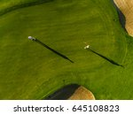 aerial view of golfers playing... | Shutterstock . vector #645108823