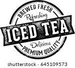fresh iced tea beverage stamp | Shutterstock .eps vector #645109573