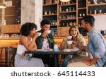 diverse group of friends... | Shutterstock . vector #645114433