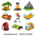 Camp And Adventure  3d Vector...