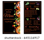vertical restaurant menu with... | Shutterstock .eps vector #645116917
