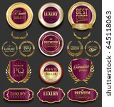 golden luxury badges retro... | Shutterstock .eps vector #645118063