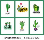 set of funny cards or posters... | Shutterstock .eps vector #645118423
