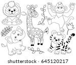 vector black and white safari... | Shutterstock .eps vector #645120217