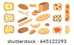 different breads and bakery... | Shutterstock .eps vector #645122293