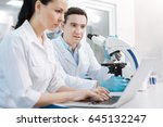 serious female researcher... | Shutterstock . vector #645132247