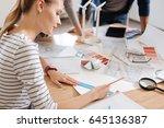 serious hard working woman... | Shutterstock . vector #645136387