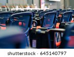 red and black conference chairs ... | Shutterstock . vector #645140797