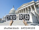 hands holding up signs... | Shutterstock . vector #645144103