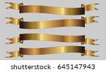 set of three golden ribbons on... | Shutterstock .eps vector #645147943