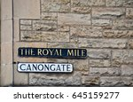 signs for the famous royal mile ... | Shutterstock . vector #645159277