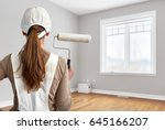 painter woman with painting...   Shutterstock . vector #645166207