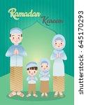 vector illustration of muslim... | Shutterstock .eps vector #645170293