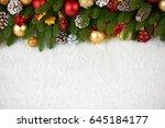 christmas decoration on fir... | Shutterstock . vector #645184177