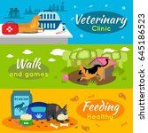 colorful pets horizontal... | Shutterstock .eps vector #645186523