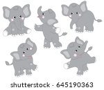 vector cute grey cartoon baby... | Shutterstock .eps vector #645190363