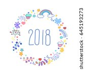 happy new 2018 year postcard... | Shutterstock .eps vector #645193273
