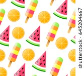 summer seamless pattern with... | Shutterstock .eps vector #645204667