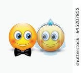 cute couple of emoticons... | Shutterstock .eps vector #645207853